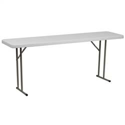 Flash Furniture 18''W x 72''L Granite White Plastic Folding Training Table<br>(FLA-RB-1872-GG)