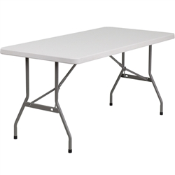 Flash Furniture 30''W x 60''L Blow Molded Plastic Folding Table<br>(FLA-RB-3060-GG)