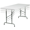 Flash Furniture 30''W x 72''L Height Adjustable Granite White Plastic Folding Table<br>(FLA-RB-3072ADJ-GG)