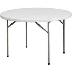 Flash Furniture 48'' Round Granite White Plastic Folding Table<br>(FLA-RB-48R-GG)