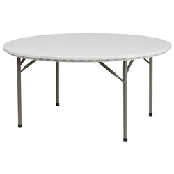 Flash Furniture 60'' Granite White Round Plastic Folding Table<br>(FLA-RB-60R-GG)