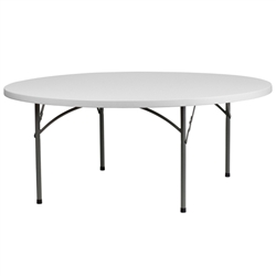 Flash Furniture 72'' Granite White Round Plastic Folding Table<br>(FLA-RB-72R-GG)
