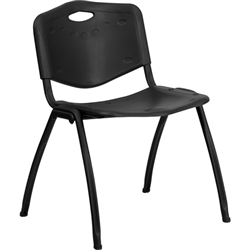Flash Furniture HERCULES Series 880 lb. Capacity Black Polypropylene Stack Chair<br>(FLA-RUT-D01-BK-GG)