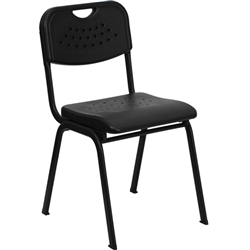 Flash Furniture HERCULES Series 880 lb. Capacity Black Plastic Stack Chair with Black Powder Coated Frame<br>(FLA-RUT-GK01-BK-GG)
