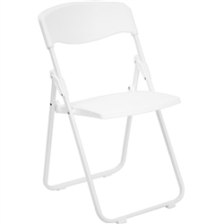 Flash Furniture HERCULES Series 800 lb. Capacity Heavy Duty White Plastic Folding Chair
