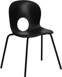 Flash Furniture HERCULES Series 770 lb. Capacity Designer Plastic Stack Chair with Black Powder Coated Frame Finish<br>(FLA-RUT-NC258-GG)