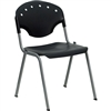 Flash Furniture HERCULES Series 550 lb. Capacity Black Polypropylene Stack Chair with Titanium Frame Finish<br>(FLA-RUT-TY01-BK-GG)