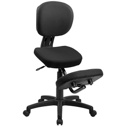 Flash Furniture Mobile Ergonomic Kneeling Posture Task Chair in Black Fabric with Back<br>(FLA-WL-1430-GG)