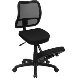 Flash Furniture Mobile Ergonomic Kneeling Task Chair with Black Curved Mesh Back and Fabric Seat<br>(FLA-WL-3425-GG)
