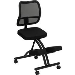 Flash Furniture Mobile Ergonomic Kneeling Chair with Black Curved Mesh Back and Fabric Seat<br>(FLA-WL-3520-GG)