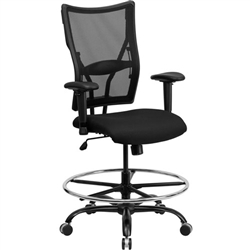 Flash Furniture HERCULES Series Big & Tall Black Mesh Drafting Stool with Arms<br>(FLA-WL-5029SYG-AD-GG)
