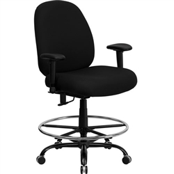 Flash Furniture HERCULES Series Big and Tall Black Fabric Drafting Stool with Arms and Extra WIDE Seat<br>(FLA-WL-715MG-BK-AD-GG)