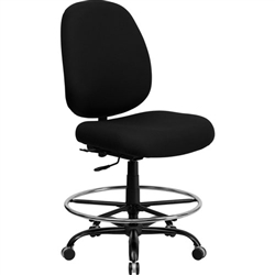 Flash Furniture HERCULES Series Big and Tall Black Fabric Drafting Stool with Extra WIDE Seat <br>(FLA-WL-715MG-BK-D-GG)