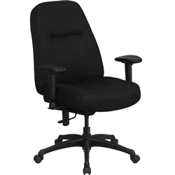 Flash Furniture HHERCULES Series High Back Big & Tall Black Fabric Office Chair with Height Adjustable Arms and Extra WIDE Seat<br>(FLA-WL-726MG-BK-A-GG)