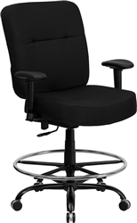 Flash Furniture HERCULES Series Big & Tall Black Fabric Drafting Stool with Arms and Extra WIDE Seat<br>(FLA-WL-735SYG-BK-AD-GG)