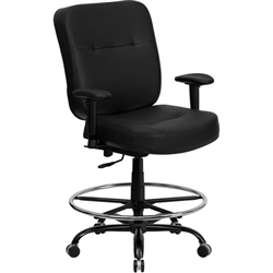 Flash Furniture HERCULES Series Big & Tall Black Leather Drafting Stool with Arms and Extra WIDE Seat <br>(FLA-WL-735SYG-BK-LEA-AD-GG)
