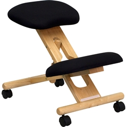 Flash Furniture Mobile Wooden Ergonomic Kneeling Chair in Black Fabric<br>(FLA-WL-SB-210-GG)