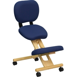 Flash Furniture Mobile Wooden Ergonomic Kneeling Posture Chair in Navy Blue Fabric with Reclining Back<br>(FLA-WL-SB-310-GG)