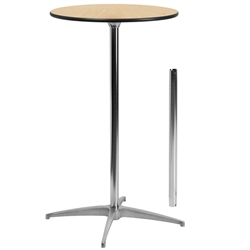Flash Furniture 24'' Round Wood Cocktail Table with 30'' and 42'' Columns<br>(FLA-XA-24-COTA-GG)