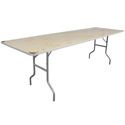 Flash Furniture 30'' x 96'' Rectangular HEAVY DUTY Birchwood Folding Banquet Table with METAL Edges and Protective Corner Guards<br>(FLA-XA-3096-BIRCH-M-GG)