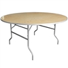 Flash Furniture 60'' Round HEAVY DUTY Birchwood Folding Banquet Table with METAL Edges<br>(FLA-XA-60-BIRCH-M-GG)