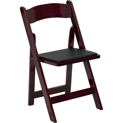 Flash Furniture HERCULES Series Mahogany Wood Folding Chair - Padded Vinyl Seat<br>(FLA-XF-2903-MAH-WOOD-GG)