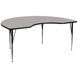 Flash Furniture 48''W x 96''L Kidney Shaped Activity Table with Laminate Top and Standard Height Adjustable Legs<br>(FLA-XU-A4896-KIDNY-A-GG)
