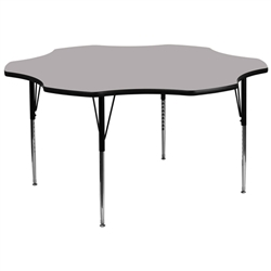 Flash Furniture 60'' Flower Shaped Activity Table with Laminate Top and Standard Height Adjustable Legs<br>(FLA-XU-A60-FLR-A-GG)