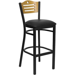 Flash Furniture HERCULES Series Black Slat Back Metal Restaurant Bar Stool - Natural Wood Back<br>(FLA-XU-DG-6H3B-SLAT-BAR-GG)
