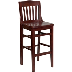 Flash Furniture HERCULES Series Mahogany Finished School House Back Wooden Restaurant Bar Stool<br>(FLA-XU-DG-W0006BAR-MAH-GG)