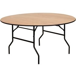 Flash Furniture 60'' Round Wood Folding Banquet Table with Clear Coated Finished Top<br>(FLA-YT-WRFT60-TBL-GG)