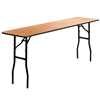 Flash Furniture 18'' x 72'' Rectangular Wood Folding Training / Seminar Table with Smooth Clear Coated Finished Top<br>(FLA-YT-WTFT18X72-TBL-GG)