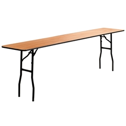 Flash Furniture 18'' x 96'' Rectangular Wood Folding Training / Seminar Table with Smooth Clear Coated Finished Top<br>(FLA-YT-WTFT18X96-TBL-GG)