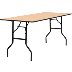 Flash Furniture 30'' x 72'' Rectangular Wood Folding Training / Seminar Table with Smooth Clear Coated Finished Top<br>(FLA-YT-WTFT30X72-TBL-GG)