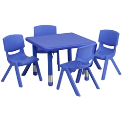 Flash Furniture 24'' Square Adjustable Plastic Activity Table Set with 4 School Stack Chairs<br>(FLA-YU-YCX-0023-2-SQR-E-GG)
