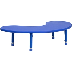 Flash Furniture 35''W x 65''L Height Adjustable Half-Moon Plastic Activity Table<br>(FLA-YU-YCX-004-2-MOON-GG)