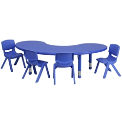 Flash Furniture 35''W x 65''L Adjustable Rectangular Plastic Activity Table Set with 4 School Stack Chairs<br>(FLA-YU-YCX-0043-2-MOON-TB-E-GG)