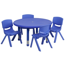 Flash Furniture 33'' Round Adjustable Plastic Activity Table Set with 4 School Stack Chairs<br>(FLA-YU-YCX-0073-2-ROUND-E-GG)