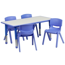 Flash Furniture 23.625''W x 47.25''L Adjustable Rectangular Blue Plastic Activity Table Set with 4 School Stack Chairs<br>(FLA-YU-YCY-060-0034-REC-TBL-GG-GG)