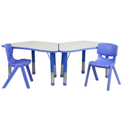Flash Furniture Trapezoid Plastic Activity Table Configuration with 2 School Stack Chair<br>(FLA-YU-YCY-091-0032-TRP-TBL-GG)