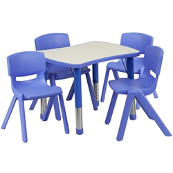 Flash Furniture 21.875''W x 26.625''L Adjustable Rectangular Plastic Activity Table Set with 4 School Stack Chairs<br>(FLA-YU-YCY-098-0034-REC-TBL-GG)