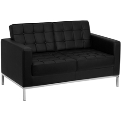 Flash Furniture HERCULES Lacey Series Contemporary Black Leather Love Seat with Stainless Steel Frame<br>(FLA-ZB-LACEY-831-2-LS-BK-GG)