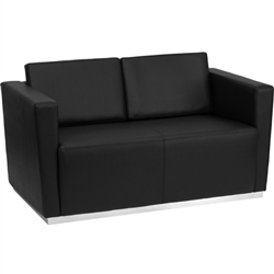 Flash Furniture HERCULES Trinity Series Contemporary Black Leather Love Seat with Stainless Steel Base<br>(FLA-ZB-TRINITY-8094-LS-BK-G)