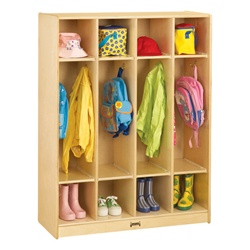 Jonti-Craft Baltic Birch Coat Locker 4 Sections  (Jonti-Craft JON-0268JC)