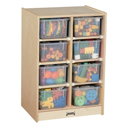 Jonti-Craft Baltic Birch Eight-Tray Mobile Storage Unit with Clear Trays  (Jonti-Craft JON-06060JC)