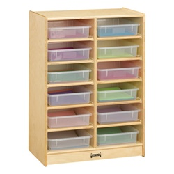 Jonti-Craft Baltic Birch Paper Tray Cubby Unit - 12 Cubbies with Clear Trays  (Jonti-Craft JON-06130JC)
