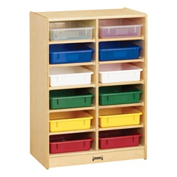 Jonti-Craft Baltic Birch Paper Tray Cubby Unit - 12 Cubbies with Colorful Trays  (Jonti-Craft JON-0613JC)