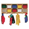 Jonti-Craft Baltic Birch Large Wall-Mount Coat Rack with 10 Clear Cubby Trays  (Jonti-Craft JON-07710JC)