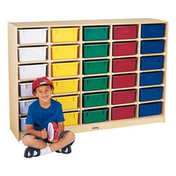 Jonti-Craft Baltic Birch 30-Cubby Single Storage Unit with Colorful Tubs  (Jonti-Craft JON-4031JC)