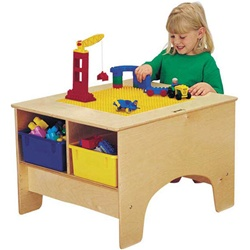 Jonti-Craft Building Table With Duplo Compatible Top- Colored Storage Tubs  (Jonti-Craft JON-57459JC)